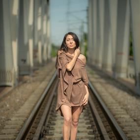 Beauty on tracks by Sabin Malisevschi - People Fashion ( pose, fashion, girl, railway, teen, train, nice, bridge, tracks, KidsOfSummer )
