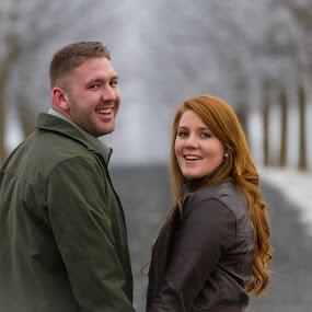 Frosty Lane by Craig Lybbert - People Couples ( look, love, winter, fog, trees, lane,  )