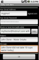 Screenshot of Daily Task Alert Widget