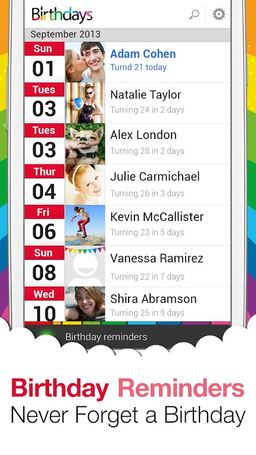 Sync.ME Birthdays For Facebook - screenshot