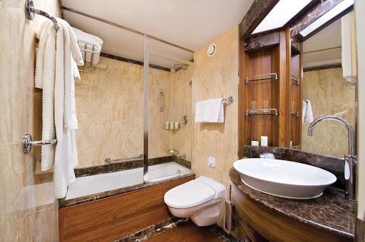 Silver_Wind_Veranda_Suite_bathroom - The marble bathroom and full-size bath in Silver Wind's Veranda Suite. Marble bathrooms are the standard aboard all Silversea ships.