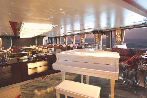 Uniworld-Century-Legend-and-Paragon-Observation-Lounge - Spend an evening of your Uniworld cruise in China enjoying the spectacular view of the Yangtze River while listening to live piano in the Observation Lounge.
