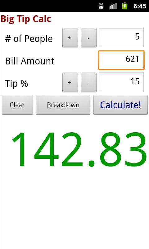 Big Tip Calc - Tip Calculator- screenshot
