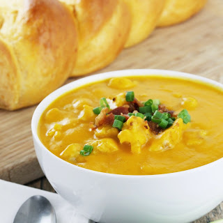 Roasted Cauliflower and Sweet Potato Soup with Bacon and Cheddar.