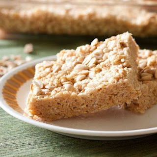 Malted Peanut Butter Rice Crispy Squares.