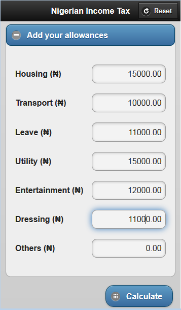 Nigeria Tax/Net Pay Calculator- screenshot