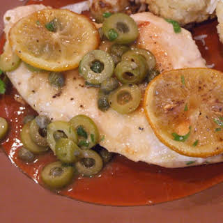 Sauteed Chicken with Olives, Capers and Roasted Lemons.