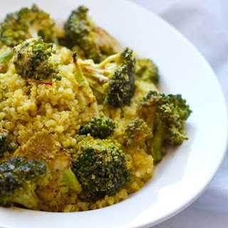 Golden Saffron Quinoa with Maple-Roasted Cheezy Broccoli