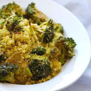 Golden Saffron Quinoa with Maple-Roasted Cheezy Broccoli.