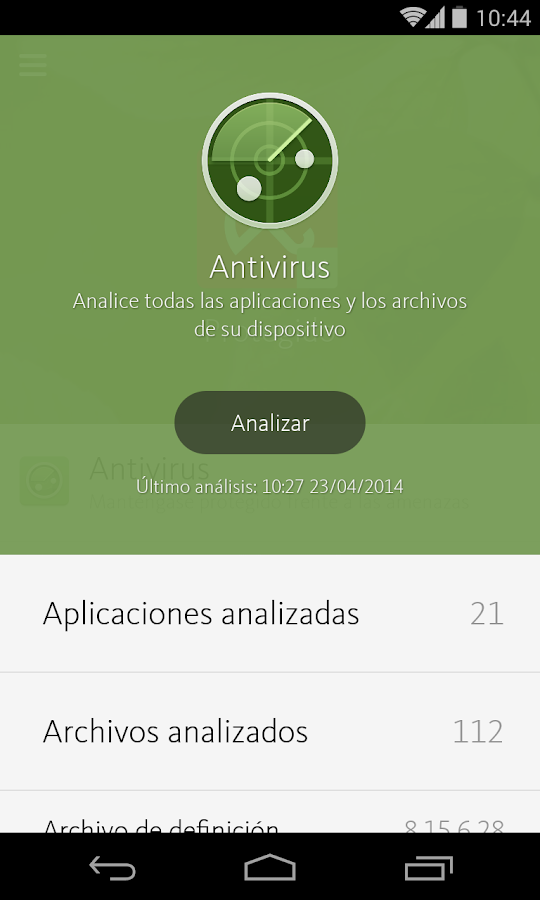 Avira Antivirus Security: captura de pantalla