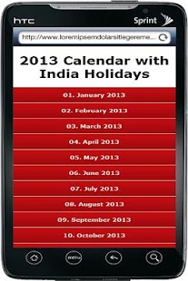 2013 Calendar & Indian Holiday - screenshot thumbnail