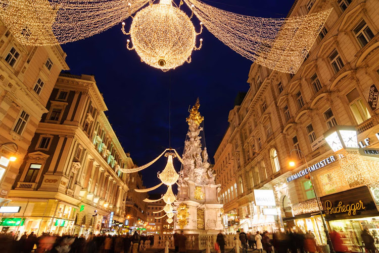 Christmastime in the Graben during the holiday market in Vienna, Austria.