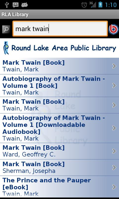 Round Lake Area Library- screenshot