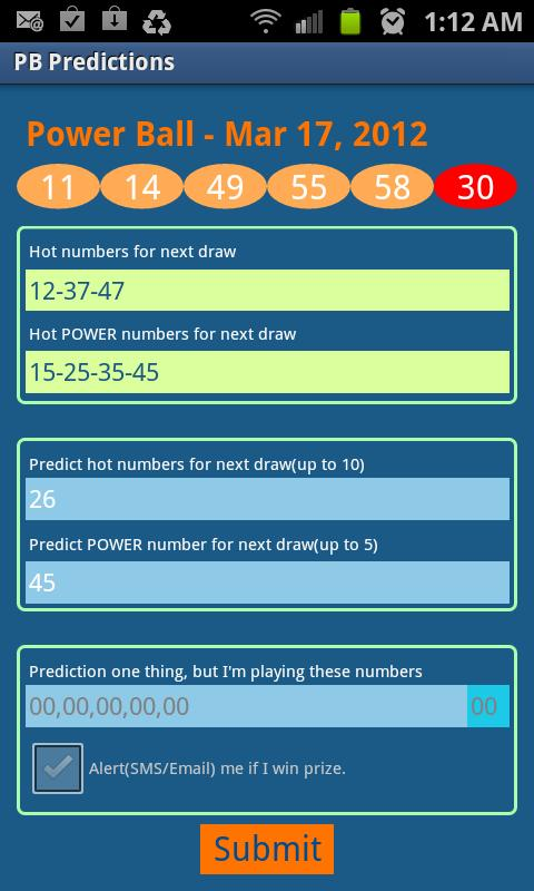 Powerball Predictions - screenshot