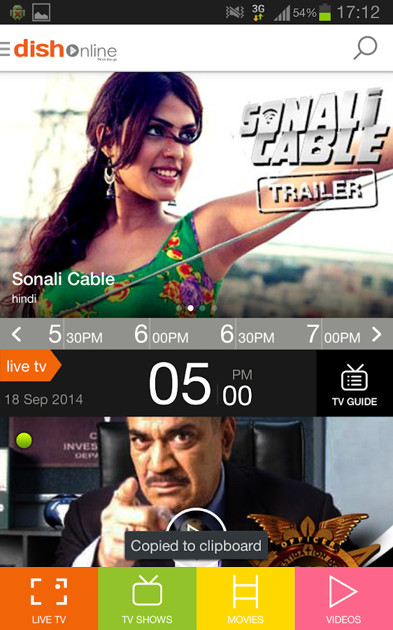 DishTV - LIVE TV MOVIES VIDEOS - screenshot