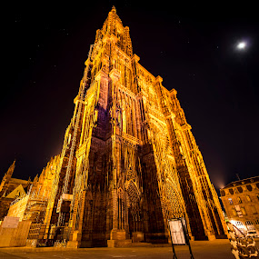 Strasbourg Cathedral (France).  by Lillian Molstad Andresen - Buildings & Architecture Architectural Detail ( moon, building, april, 2014, architecture, sky, nikon d800, night, cathedral, france, historical, evening, light, strasbourg, , Lighting, moods, mood lighting, Urban, City, Lifestyle )
