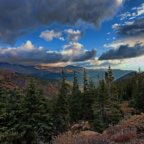 by Todd Yoder - Landscapes Mountains & Hills ( vistas, clouds, pines, mountains, sunlight )