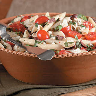 Pasta with Cherry Tomatoes, Olives, and Feta.