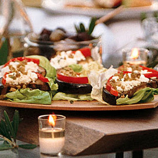Eggplant with Bell Pepper, Feta, and Green Olives.