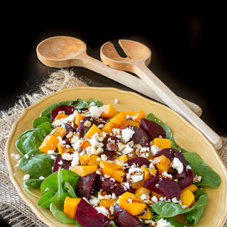 Spinach Salad with Butternut Squash, Beets & Feta.