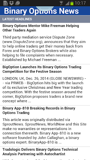 Binary Options News