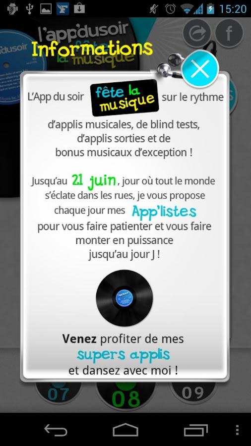 l'app du soir fête la musique - screenshot