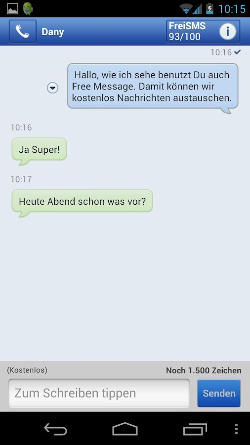 GMX SMS mit Free Message - screenshot