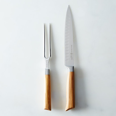 Olive Wood Kullenschliff Carving Knife & Fork