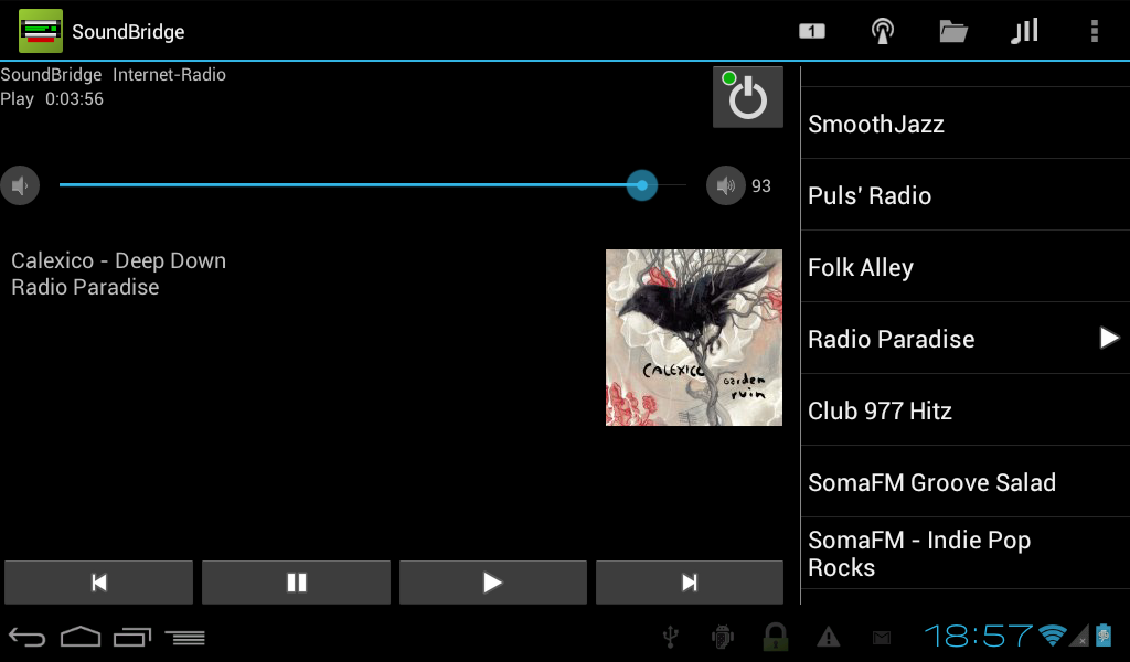 Remote for SoundBridge - screenshot
