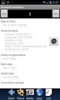 Screenshot of Grave site location