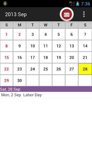 US Holiday Calendar 2015