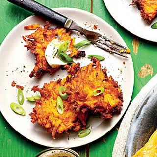 Crispy Sweet Potato-Green Onion Cakes.