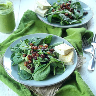 Vegan Spinach Salad with Avocado Ranch and Chickpea Bacon