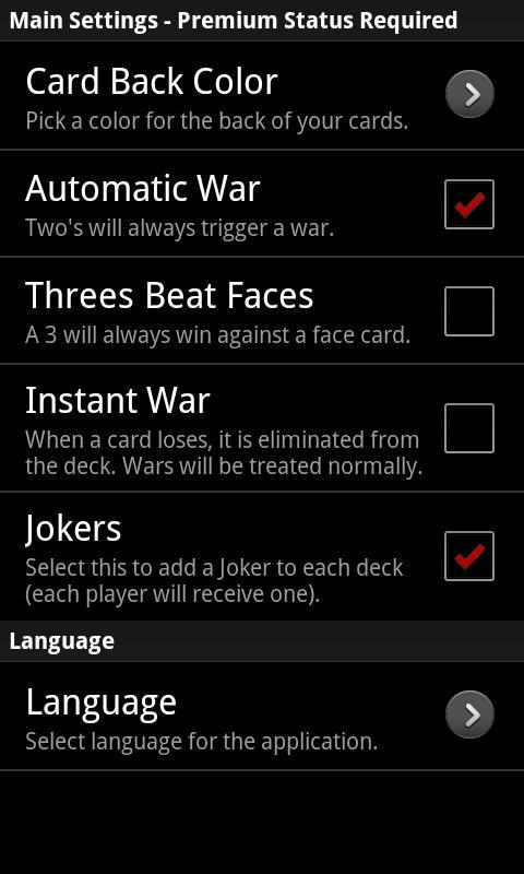 War (Card Game)- screenshot