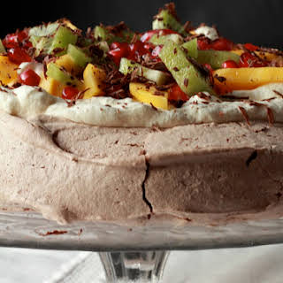 Nigella Lawson's Chocolate Pavlova with Exotic Fruit.
