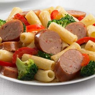 Johnsonville Smoked Chicken Italian Sausage and Broccoli Rigatoni.