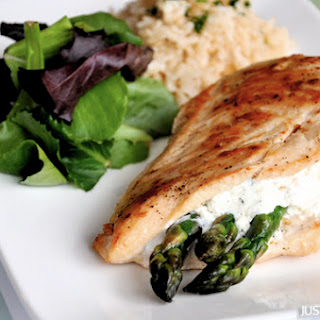 Asparagus and Goat Cheese Stuffed Chicken.