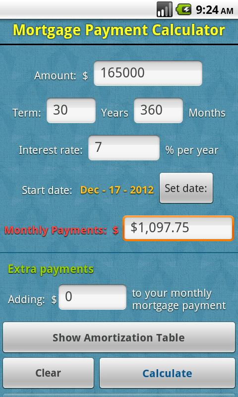 Mortgage Payment Calculator  Android Apps On Google Play