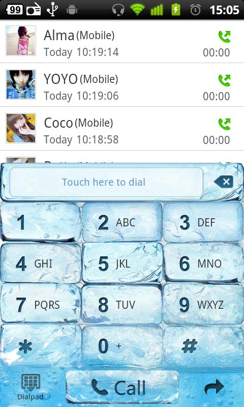 GO Contacts Iceblue Theme - screenshot