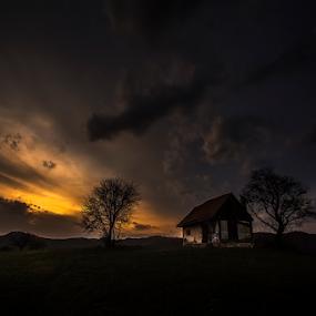 Burning by Andrei Grososiu - Landscapes Sunsets & Sunrises ( sky, sunset, romania, house, burning, holbav )