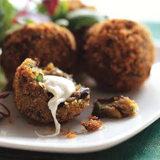 Crispy Eggplant Fritters with Smoked Mozzarella.