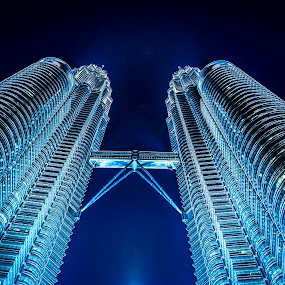 Petronas @ Night by Jijo George - Buildings & Architecture Architectural Detail ( famous place, , serenity, blue, mood, factory, charity, autism, light, awareness, lighting, bulbs, LIUB, april 2nd )
