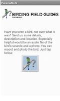 Screenshot of Panama Birds Field Guide