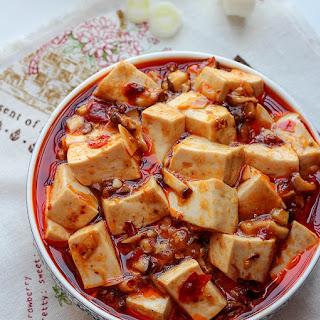 Vegetarian Mapo Tofu with Mushrooms.