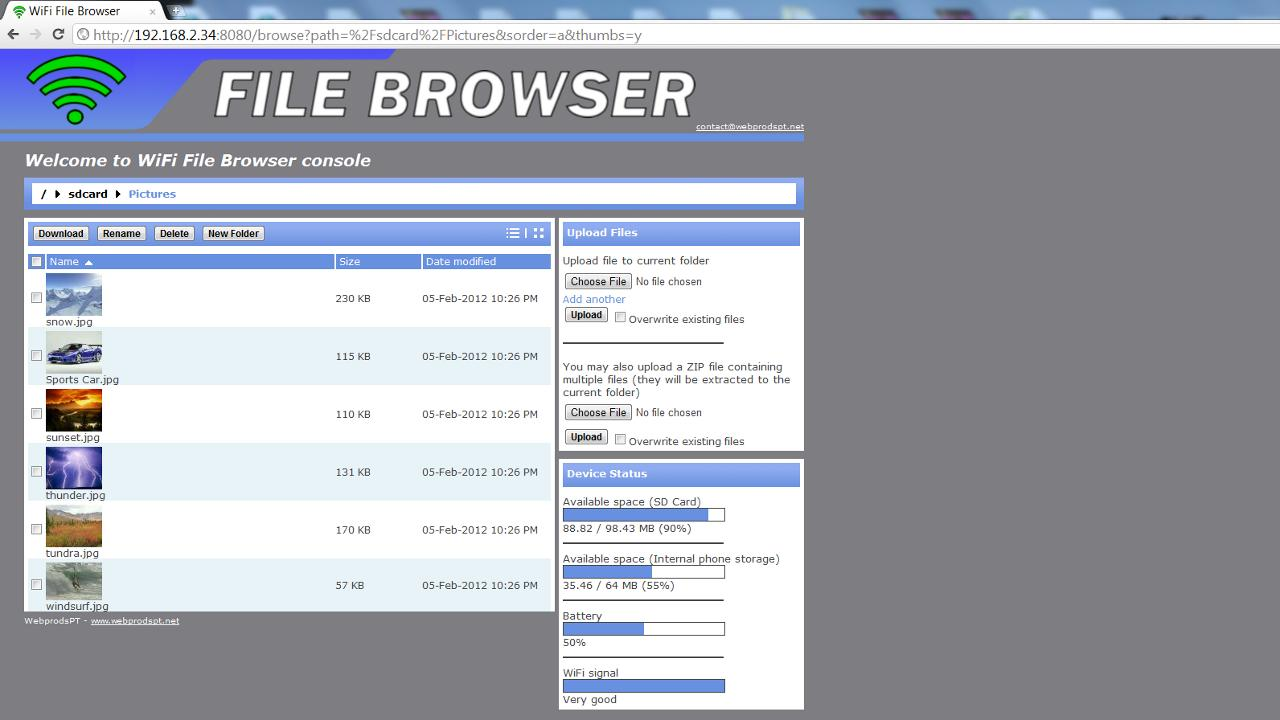 WiFi File Browser - screenshot