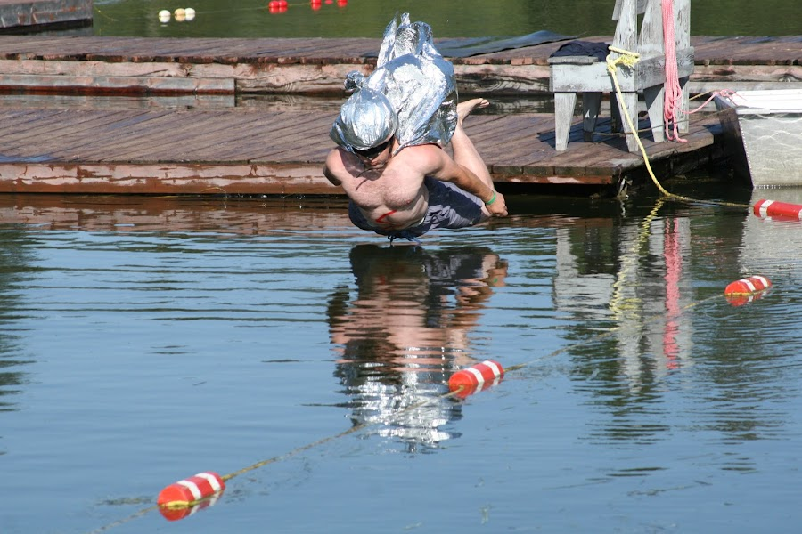 Captain Belly Flop by Craig Lybbert - News & Events Entertainment ( swim, dive, contest, costume, lake, belly flop )