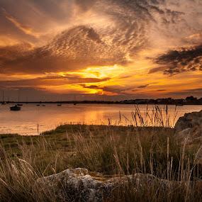 Sunset at  Mudeford  by Mark Usher - Landscapes Sunsets & Sunrises ( sunset, quay, mudeford, sun, dorset )