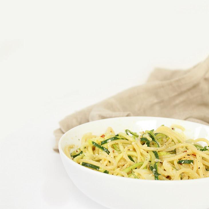 Garlic-Parmesan Zucchini Noodles and Spaghetti Pasta Recipe