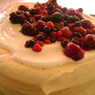 Pavlova with Greek Yogurt and Red Fruit Topping