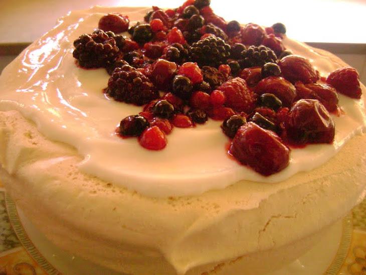 Pavlova with Greek Yogurt and Red Fruit Topping Recipe